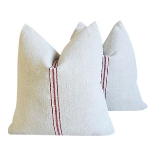 """French Red Striped Gain Sack Feather/Down Pillows 20"""" Square - Pair"""
