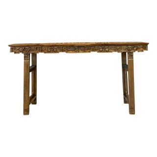Antique Hand Carved Wood Altar Table/Console For Sale