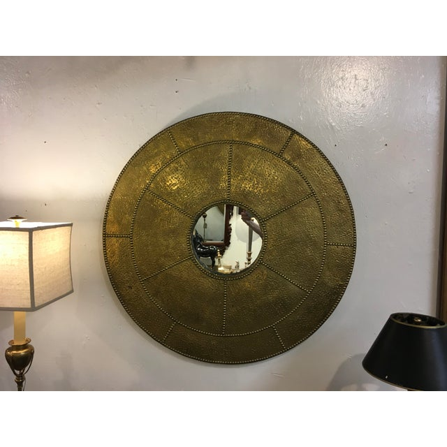Sarreid Ltd. Sarreid Hammered Brass Mirror For Sale - Image 4 of 10
