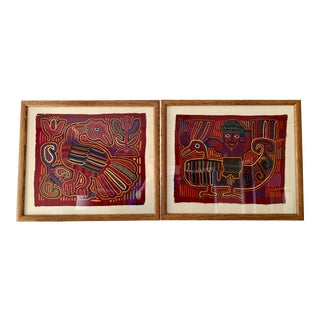 Late 20th Century Mola Textile Art of the Kuna Indians in Frames - a Pair For Sale