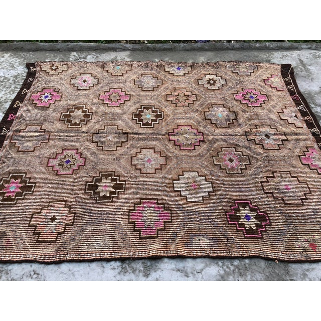 Textile 1960s Vintage Turkish Nomadic Tribal Area Rug - 6′9″ × 8′8″ For Sale - Image 7 of 11