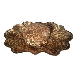 Mid-Century Paper Maché Tray & Coasters - Set of 7