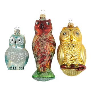 Blown Glass Owl Christmas Ornaments - Set of 3 For Sale