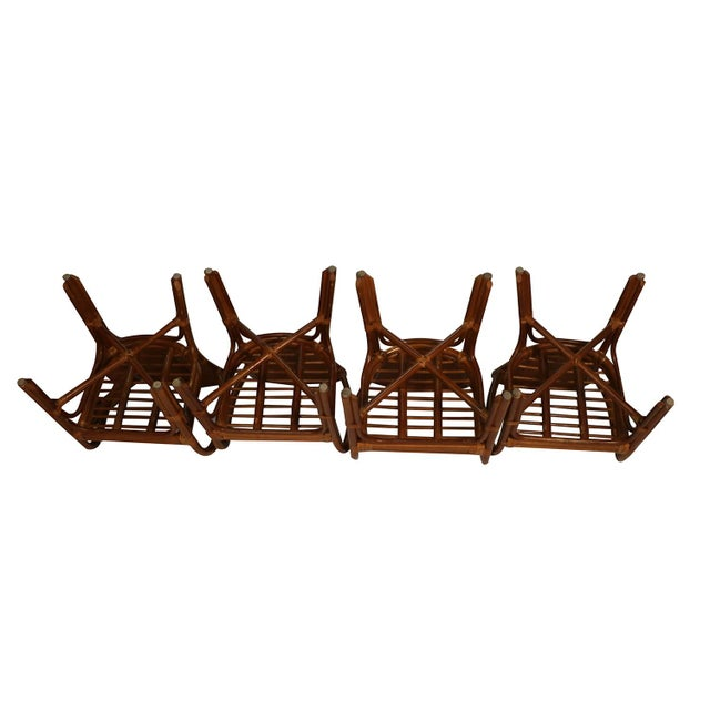 Mid-Century Modern Sheaf of Wheat Rattan Dining Table and Chairs For Sale - Image 3 of 11