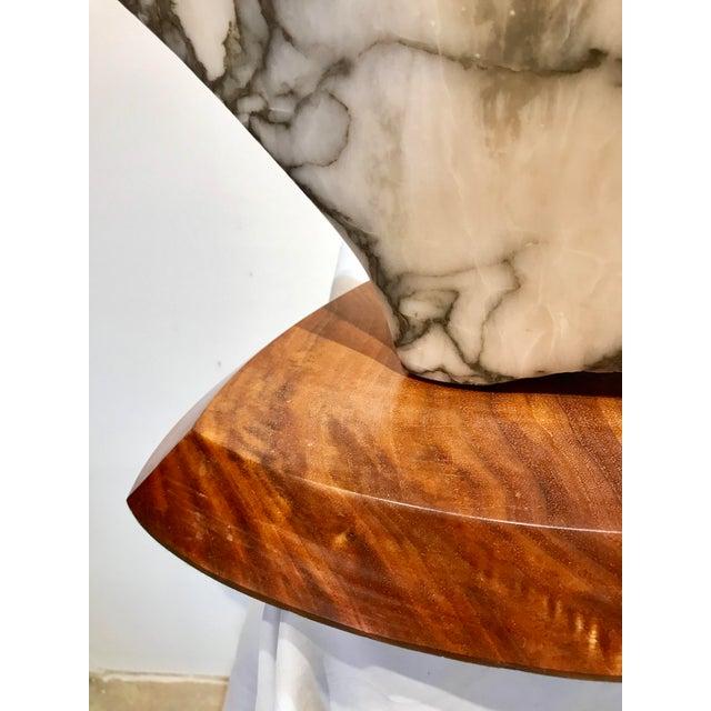 Alabaster Modernist Marble Sculpture on Walnut Plinth Base For Sale - Image 8 of 12