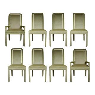 Velvet & Brass Detail Dining Chairs - Set of 8 For Sale