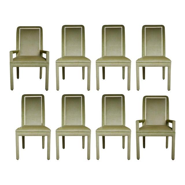Velvet & Brass Detail Dining Chairs - Set of 8 - Image 1 of 9