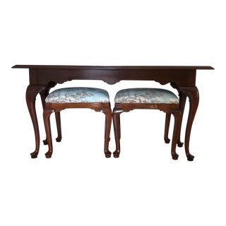 1989 Vintage Ethan Allen Georgian Style Court Sofa Table & Benches - 3 Pieces For Sale
