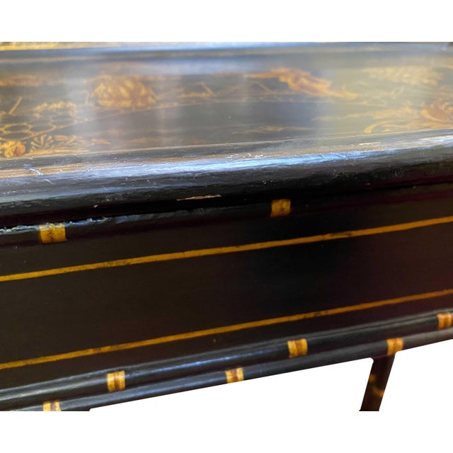 English Black Lacquer and Parcel Gilt Table For Sale - Image 4 of 6