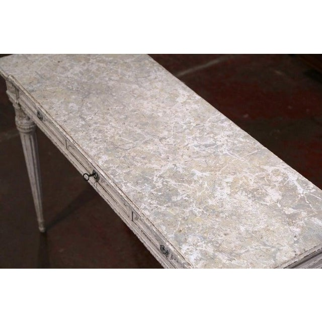 Gray 19th Century French Louis XVI Carved Painted Table Console For Sale - Image 8 of 13