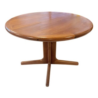 Dscan Solid Teak Dining Table With Leaf For Sale