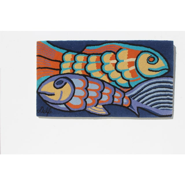 Contemporary 1970s Bold Fish Weaving Carpet Wall Decor For Sale - Image 3 of 7
