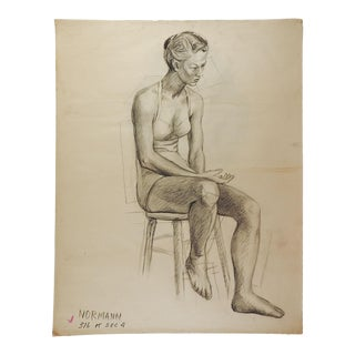 Studio Drawing Seated Female Figure For Sale