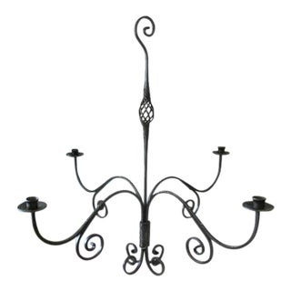 Iron Hand Forged Candelabra Chandelier For Sale