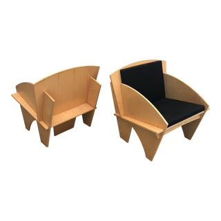 1970s Vintage Plywood Wood Puzzle Chairs- A Pair For Sale