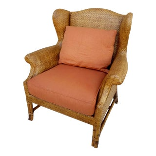 Vintage Baker Furniture Rattan Wingback Chair For Sale