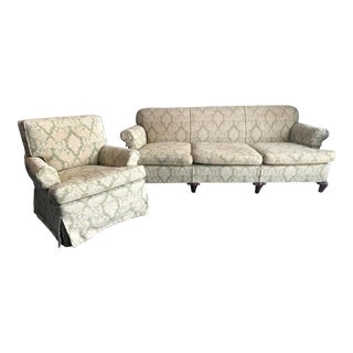Vintage Roll Arm Sage Upholstered Sofa & Armchair - A Pair For Sale