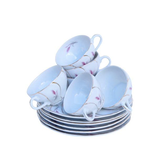 Asian Yamaka 12-Piece Bone China Teacup & Saucer Set For Sale - Image 3 of 9