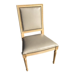 Massoud Regency Style Leather Accent Chair For Sale