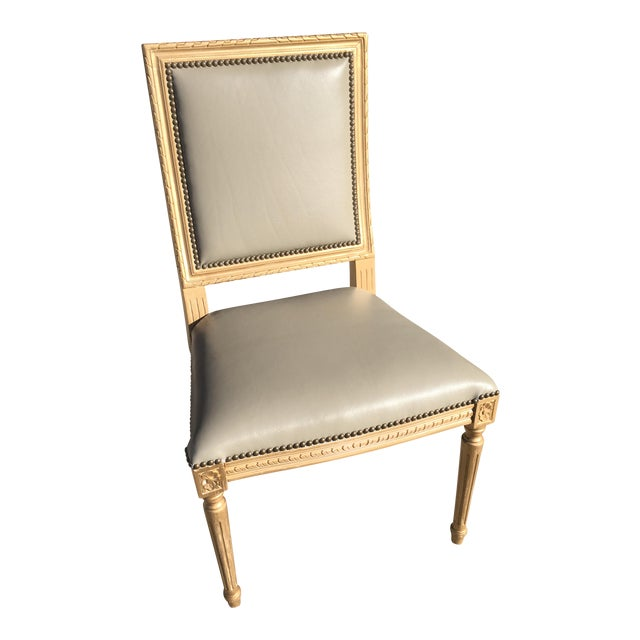Massoud Regency Style Leather Accent Chair - Image 1 of 11