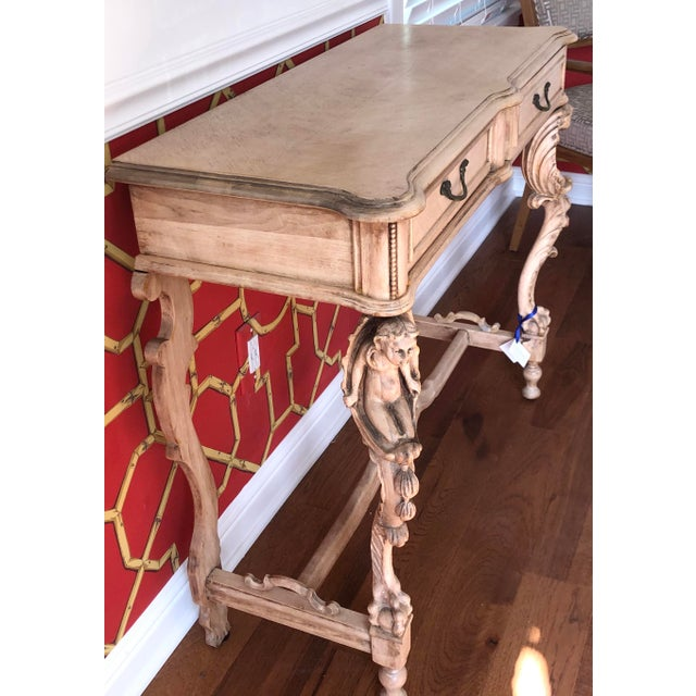 Figurative Antique Carved Italian Bleached Mahogany Venetian Figural Console Table For Sale - Image 3 of 5