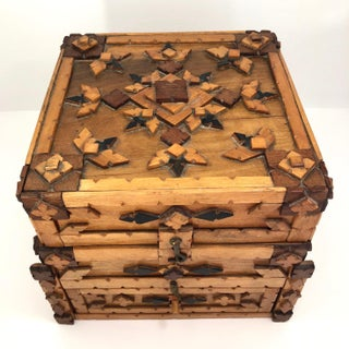 Tramp Art Chip Carved Box With Drawer Preview