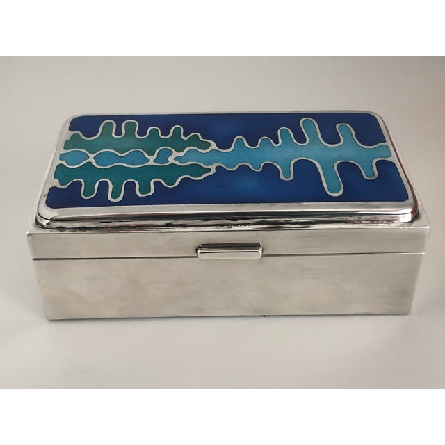 Mid-Century Modern Mid Century Modernist Sterling Silver and Enamel Box For Sale - Image 3 of 12