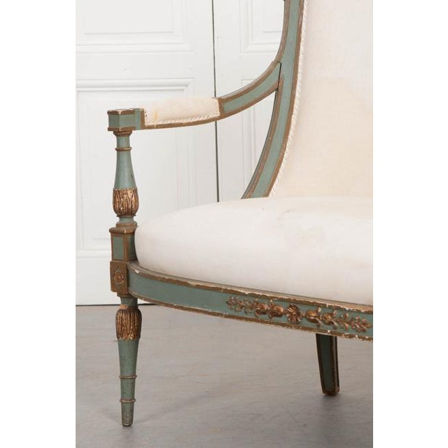 Fabric French 19th Century Parcel Gilt Empire Settee For Sale - Image 7 of 12