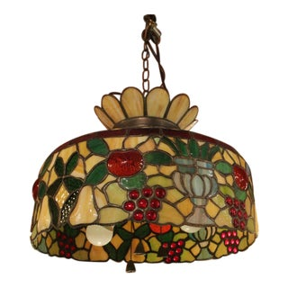 Antique 1920s Tiffany Style Stained Glass Chandelier For Sale