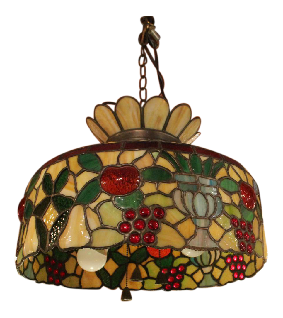 Antique 1920s Tiffany Style Stained Glass Chandelier Chairish