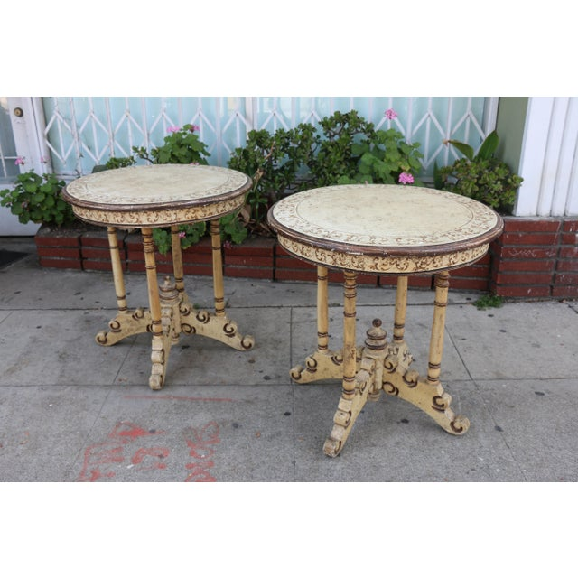1950s Campaign Carved and Hand Painted Tall Center Tables - a Pair For Sale - Image 9 of 12
