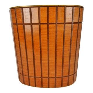 Mid-Century Wood Waste Basket For Sale