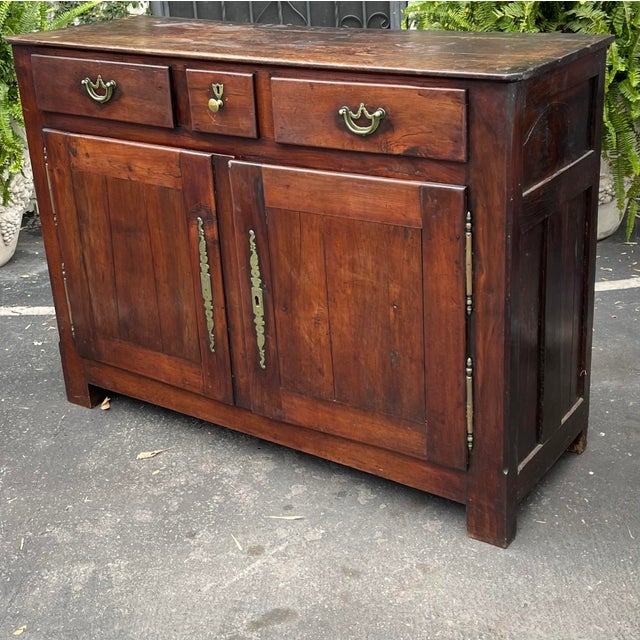 Metal Antiqie 18th C Italian Country Walnut Sideboard Buffet For Sale - Image 7 of 9