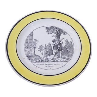 19th Century French Faience Yellow Rim Plate For Sale