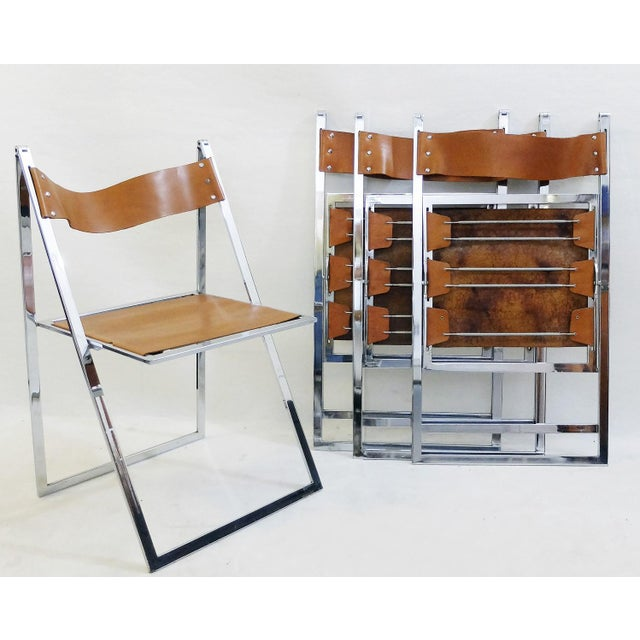 Leather Set of 4 Folding Chairs 'Elios' by Fontoni & Geraci - 1960s For Sale - Image 7 of 9