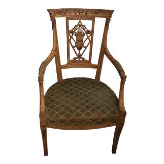 Neoclassical Italian Carved Wood Arm Chair