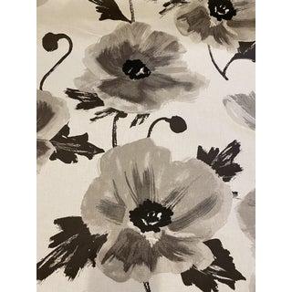 Kate Spade Kravet Cotton Chintz Fabric Amapola Flax Black Gray 1 5/8 Yards For Sale
