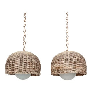 Vintage Wicker Dome Pendant Lights- a Pair For Sale