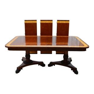 Regency Baker Mahogany Banded Dining Table For Sale