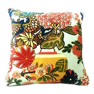 "Asian Modern Schumacher Linen & Down Square ""Dragon"" Pillow For Sale"