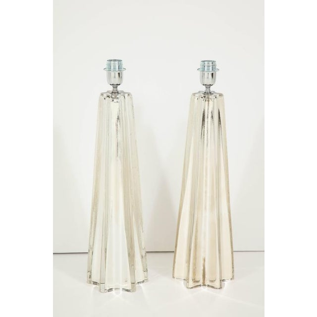 """Hollywood Regency Mercury Glass Star """"Etoile"""" Lamps - A Pair For Sale - Image 3 of 9"""