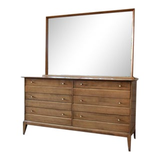 1957 Vintage Heywood Wakefield Mid-Century Cadence 6 Drawer Dresser & Mirror For Sale