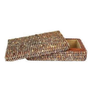 Brown Rectangular Folk Art Sea Shell Covered Wooden Box With Lid - Arthur Court For Sale