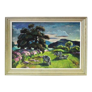"""""""Eventide"""" Cow Oil Painting by Buchholz For Sale"""