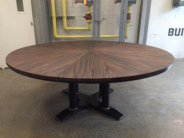 Large Italian Zebra Wood Center Table. Very Nice Zebra Wood Grain With A  Black Lacquered