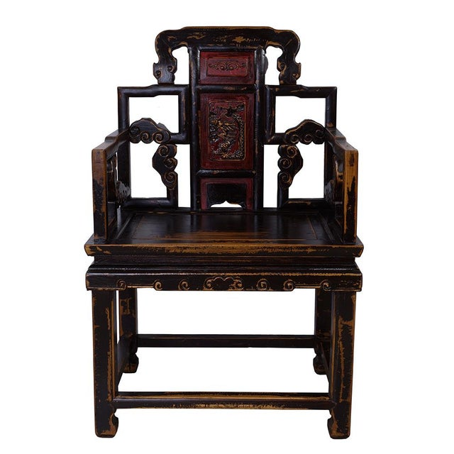 Asian Antique Chinese Carved Official Arm Chairs & Tea Table - Set of 3 For Sale - Image 3 of 13