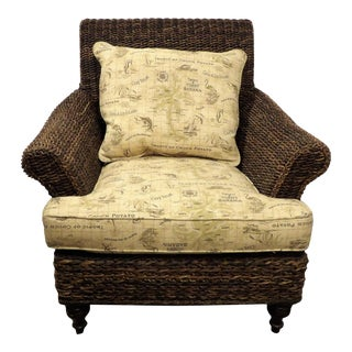 Tommy Bahama Woven Rattan Patio Side Chair, Tropic of Couch Fabric For Sale