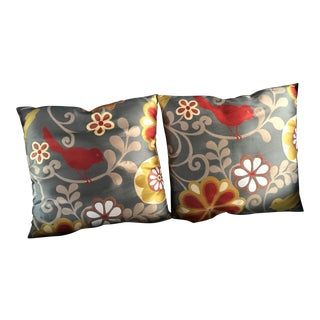 Late 20th Century Accent Pillows With Floral & Bird Design - a Pair For Sale