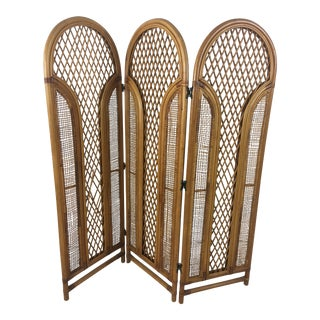 Vintage Dome Top Rattan Screen For Sale