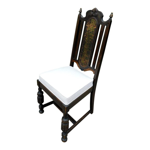 Vintage Spanish Style Cane Back Chair For Sale